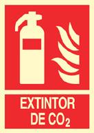 EXTINTOR CO2. Señal PVC 210x297 mm. Fotoluminiscente. Clase B. Fecha. (IVA incl.)
